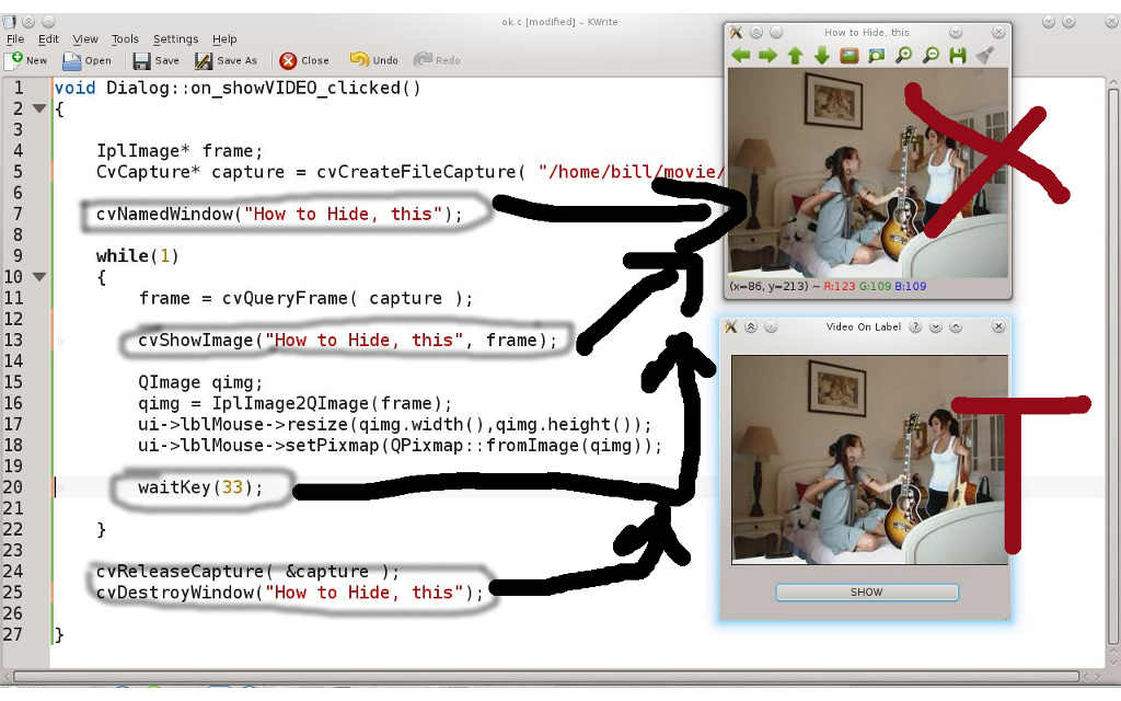Video On Label OpenCV Qt :: hide cvNamedWindows - OpenCV Q&A