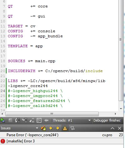 Opencv Qt Creator Integration Error Opencv Qa Forum