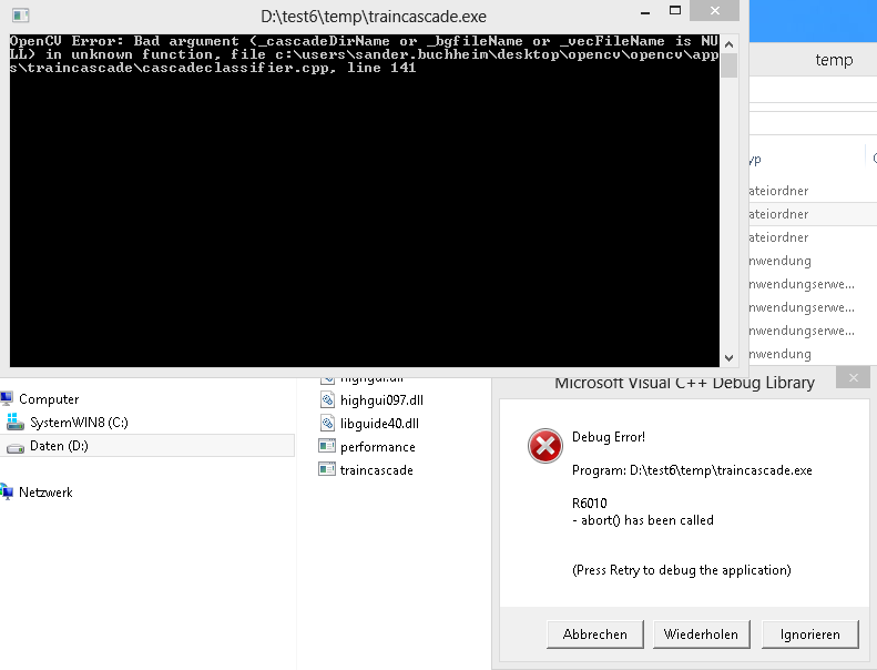 Debug Assertion Failed: trouble with traincascade exe after