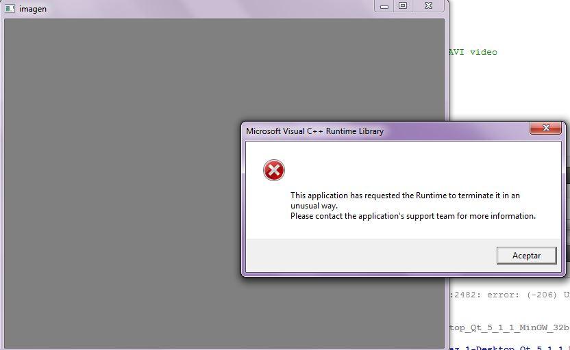 Error videocapture with Qt - OpenCV Q&A Forum