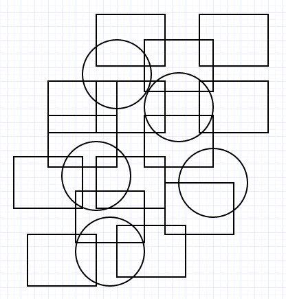 Image One - multiple overlapped squares and circles