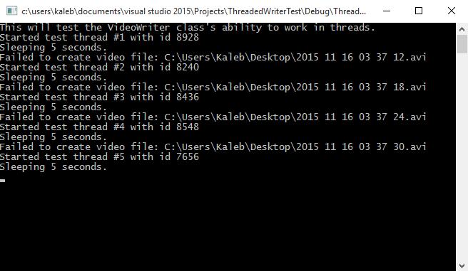 VideoWriter fails to open inside thread - OpenCV Q&A Forum