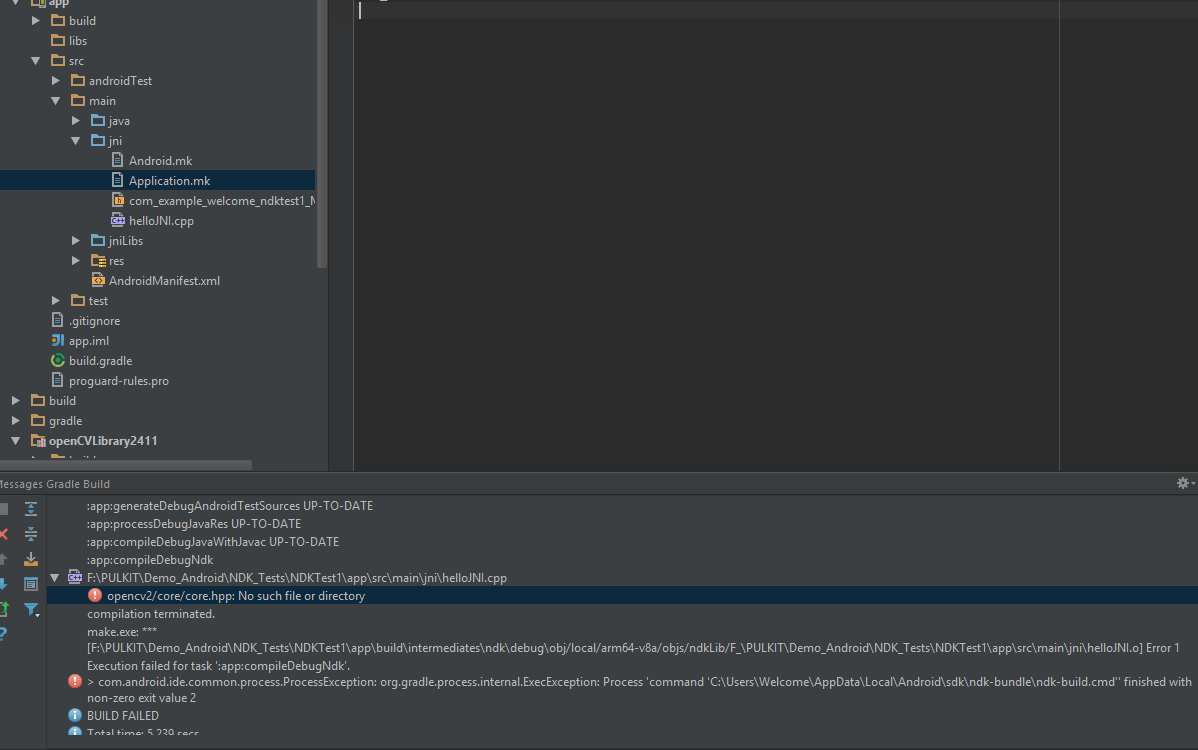 Trouble setting up OpenCV with NDK in Android Studio