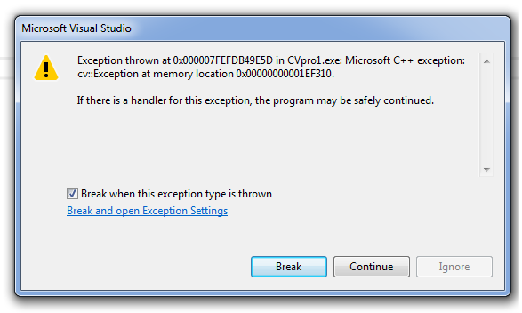 Exception thrown at 0x000007FEFDB49E5D in CVpro1 exe