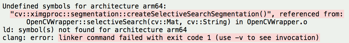 opencv xcode 9 Undefined symbols for architecture arm64