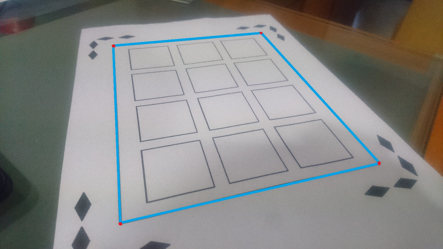 Determine the different corners of a rectangle detected on