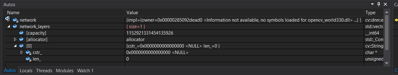 Something is wrong with VS2015 C++ Environment when using OpenCV DNN